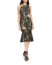 THEIA - Black Floral-applique Sleeveless Dress - Lyst