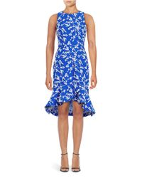 Shoshanna | Blue Floral High-low Dress | Lyst