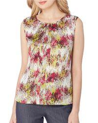 Tahari | Multicolor Petite Round Neck Sleeveless Printed Charmeuse Blouse | Lyst