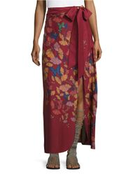Free People | Red Floral Maxi Skirt | Lyst