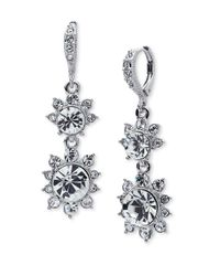 Givenchy | Metallic Floral Crystal Drop Earrings | Lyst