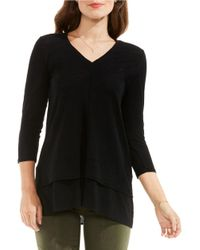 Two By Vince Camuto | Black Double Layer Mix Media V-neck Top | Lyst