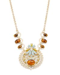 R.j. Graziano | Metallic Goldtone Crystal And Amber-style Pendant Necklace | Lyst