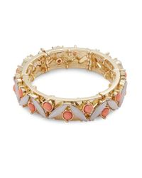 R.j. Graziano | Metallic Cabochon And Crystal Stretch Bracelet | Lyst