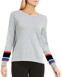 Vince Camuto   Gray Petite Striped Cuff Sweater   Lyst