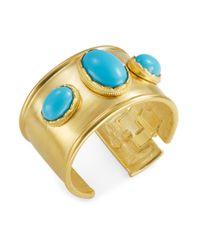 Kenneth Jay Lane | Metallic Cabochon Goldtone Cuff Bracelet | Lyst