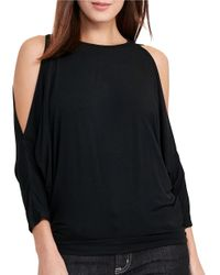 Lauren by Ralph Lauren | Black Petite Solid Cold-shoulder Top | Lyst