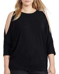 Lauren by Ralph Lauren | Black Plus Round Neck 3/4 Sleeve Cutout-shoulder Jersey Top | Lyst