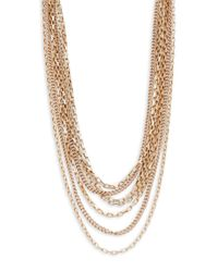 Lord & Taylor - Metallic Mixed Chainlink Nested Necklace - Lyst