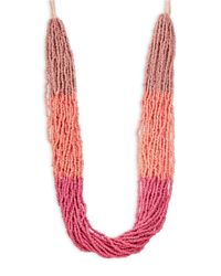 Lord & Taylor | Pink Multi-row Beaded Necklace | Lyst