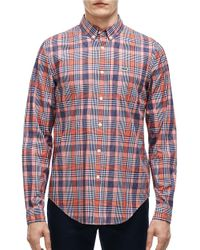 Lacoste | Red Slim-fit Poplin Woven Plaid Shirt for Men | Lyst