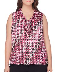 Tahari | Red Plus Tie Front Sleeveless Houndstooth Print Satin Blouse | Lyst