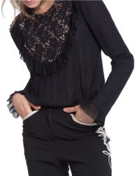Plenty by Tracy Reese   Black Frilled Panel Long Sleeve Top   Lyst