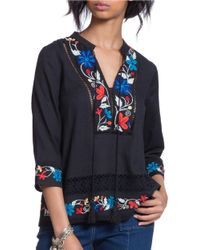 Plenty by Tracy Reese   Black Embroidered Kurta Top   Lyst