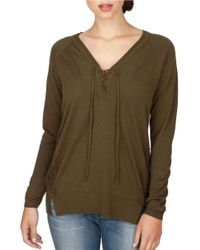 Lucky Brand | Green Long-sleeve Lace-up Top | Lyst