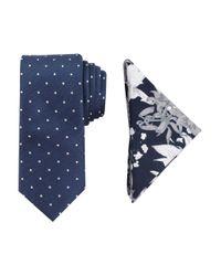 Tallia Orange | Blue Printed Silk Tie & Pocket Square Set for Men | Lyst