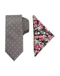 Tallia Orange - Gray Dot-print Tie & Floral-print Pocket Square Set for Men - Lyst