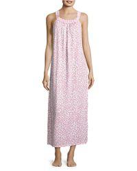 Oscar de la Renta | Pink Printed Knit Sleeveless Nightgown | Lyst
