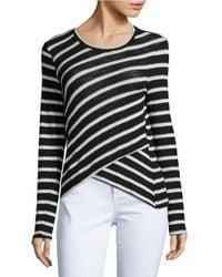 Splendid   Black Striped Mock-layer Sweater   Lyst