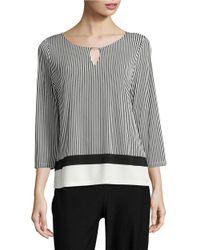 Calvin Klein | Black ?three-quarter-sleeve Striped Top | Lyst