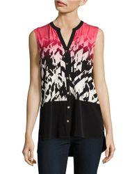 Calvin Klein   Pink Geometric Sleeveless Blouse   Lyst