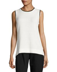 Calvin Klein | White Contrast Knit Shell | Lyst