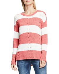 Two By Vince Camuto | Red Cable Knit Striped Pullover | Lyst