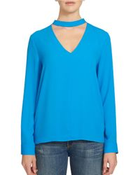 1.STATE | Blue Long Sleeve Choker Neck Top | Lyst