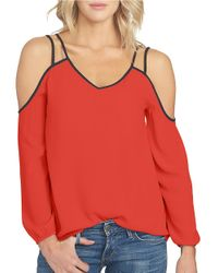 1.STATE | Red Cold Shoulder Crepe Blouse | Lyst