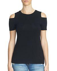 1.STATE | Black Short Sleeve Cold Shoulder Top | Lyst
