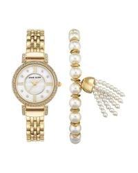 Anne Klein - Metallic Crystal Watch & Tassel Bracelet Set - Lyst