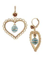 Betsey Johnson | Blue Anchors Away Heart Orbital Drop Earrings | Lyst