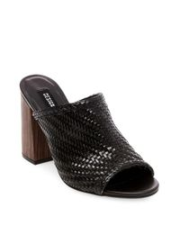 Lord & Taylor | Black Nikki Open Toe Woven Mules | Lyst