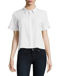 French Connection | White Polly Plains Frill Sleeve Top | Lyst
