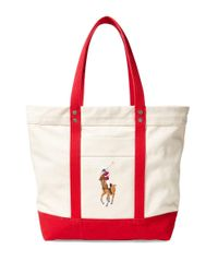 Polo Ralph Lauren | Red Big Pony Canvas Tote | Lyst