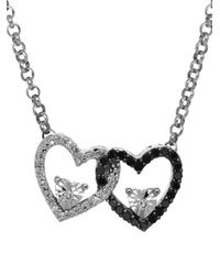 Lord & Taylor | Metallic Diamond Silver Double Heart On Rolo Pendant Necklace | Lyst