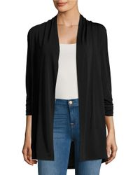 Lord & Taylor | Black Crepe Open-front Cardigan | Lyst