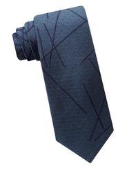 Calvin Klein | Blue Textured Woven Silk Tie for Men | Lyst