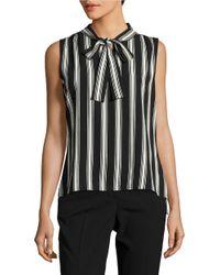 Tommy Hilfiger | Black Striped Tie-neck Top | Lyst