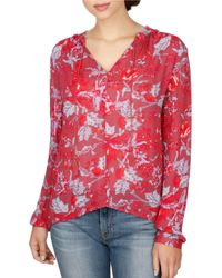 Lucky Brand   Red Floral Split Neck Blouse   Lyst