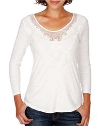 Lucky Brand | White Lace Neck Cotton Top | Lyst