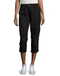 Calvin Klein Jeans | Black Cropped Linen Cargo Pants | Lyst