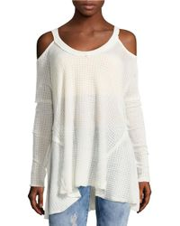 Lord & Taylor | Natural Knit Cold-shoulder Top | Lyst