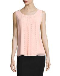Calvin Klein | Pink Beaded Sleeveless Blouse | Lyst