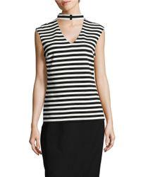 Calvin Klein | Black Striped Choker Top | Lyst