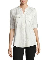 Calvin Klein | White Printed Button-front Blouse | Lyst