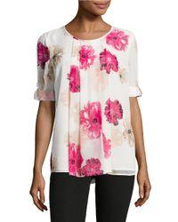Calvin Klein   Pink Floral Crepe Blouse   Lyst