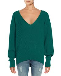Free People | Green Slouchy V-neck Sweater | Lyst