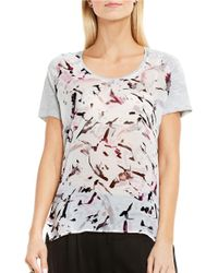 Two By Vince Camuto | Gray Painterly Muses Raglan Mix Media Tee | Lyst