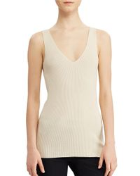 Lauren by Ralph Lauren | Natural V-neck Sleeveless Sweater | Lyst